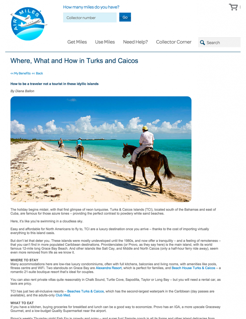 Where, What and How in Turks and Caicos