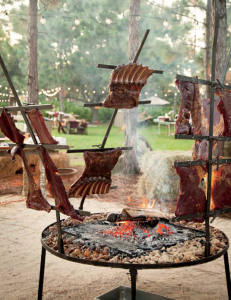 Argentinian grill at Whisper Creek Farm. Photographer Amy Mikler.